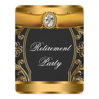 Womans Elegant Black and Gold Retirement Party 11 Cm X 14 Cm Invitation Card