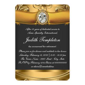 Womans Elegant Black and Gold Retirement Party 13 Cm X 18 Cm Invitation Card