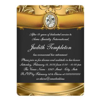 Womans Elegant Black and Gold Retirement Party 17 Cm X 22 Cm Invitation Card