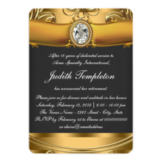 Womans Elegant Black and Gold Retirement Party Card