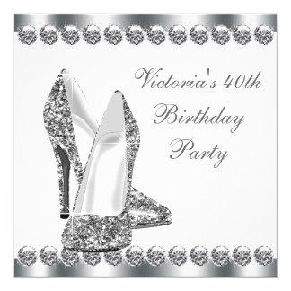 Womans Elegant White Birthday Party 13 Cm X 13 Cm Square Invitation Card