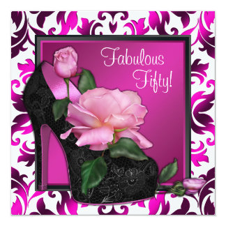 Womans Hot Pink 50th Birthday Party Card