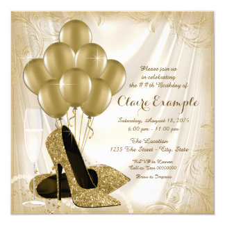Womans Ivory and Gold Birthday Party Satin Glitter 13 Cm X 13 Cm Square Invitation Card