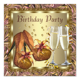 Womans Orange Pink Gold Birthday Party 13 Cm X 13 Cm Square Invitation Card