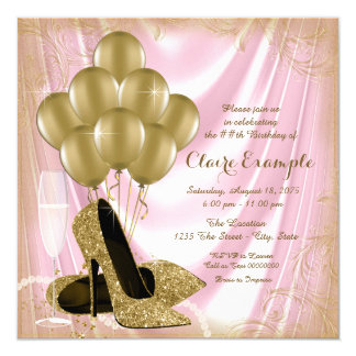 Womans Pink and Gold Birthday Party Satin Glitter 13 Cm X 13 Cm Square Invitation Card