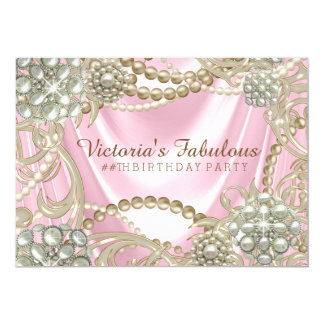 Womans Pink Pearl Birthday Party Card