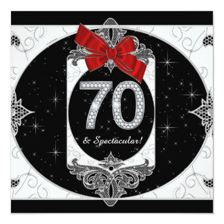 """Womans Red and Black 70th Birthday Party 5.25"""" Square Invitation Card"""