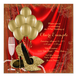 Womans Red and Gold Birthday Party Satin Glitter 13 Cm X 13 Cm Square Invitation Card