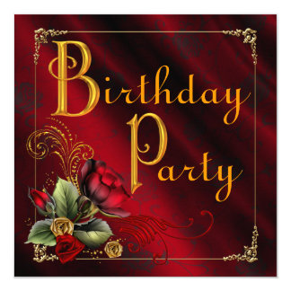 Womans Red Rose Birthday Party Card