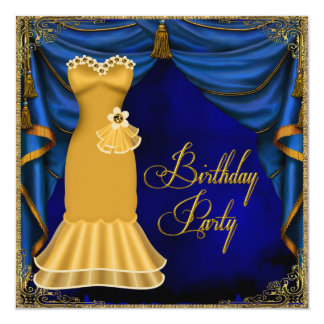 Womans Royal Blue Gold Art Deco Birthday Party Card
