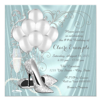 Womans Teal Blue and Silver Birthday Party Luxe 13 Cm X 13 Cm Square Invitation Card