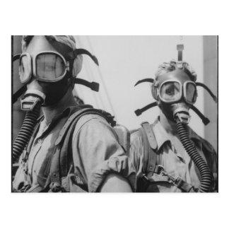 Women and Gas Masks Postcard