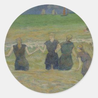 Women Bathing by Paul Gauguin Round Sticker