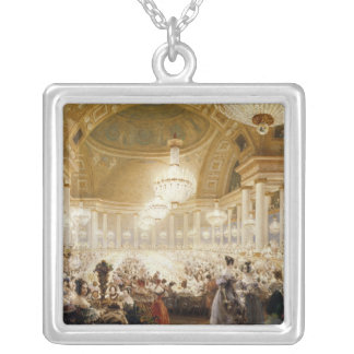 Women Dining at the Tuileries in 1835 Silver Plated Necklace