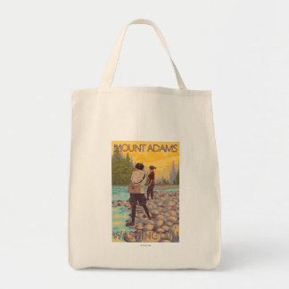 Women Fly Fishing - Mount Adams, Washington Tote Bag
