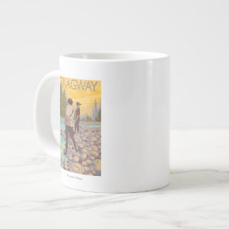 Women Fly Fishing - Skagway, Alaska Large Coffee Mug