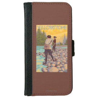 Women Fly Fishing - Yellowstone National Park iPhone 6 Wallet Case