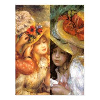 Women headwear are masterpieces in Renoir's art Postcard