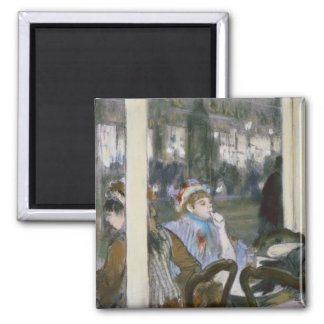 Women on a Cafe Terrace, 1877 Square Magnet