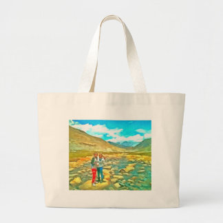 Women on a tocky mountain stream large tote bag