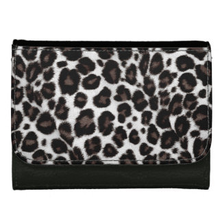 Women Trendy Black and White Leopard Print Leather Wallet For Women