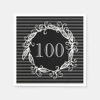 Women's 100th Birthday White Black Swirly Paper Napkins