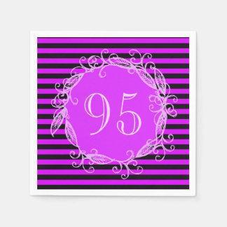 Women's 95th Birthday Purple Black Swirly Paper Napkins