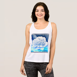 "Women's All Sports Tank Top ""White Rose in Blue"