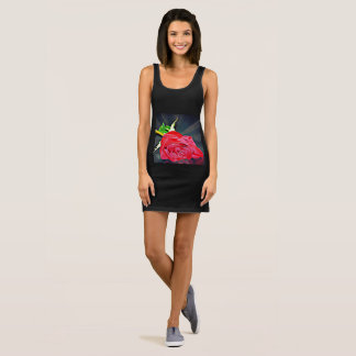 "Women's Black Jersey Tank Dress ""Red Rose on Black"