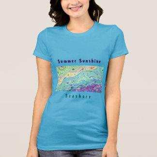 Women's Blue T-shirt: Seashore Art / Text T-Shirt