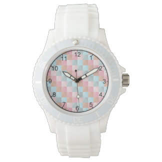 Women's Checkered Pastel Sporty White Wristwatch