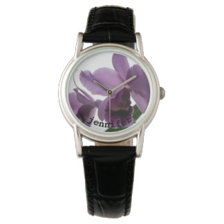 Womens Elegant Purple Orchids Personalized Gifts Wrist Watch