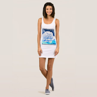 "Women's Jersey Tank Dress ""White Rose in Blue"""