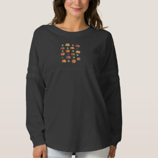 Women's oversized T-shirt with pumpkins and leaves
