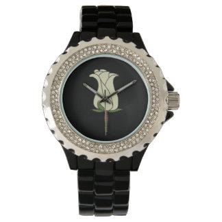 Women's Rhinestone Black Watch Rose on Face