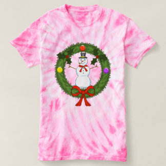 Women's Snowman in Wreath Tie-Dye T-Shirt