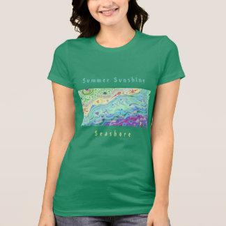 Women's Soft Cream T-shirt: Seashore Art / Text T-Shirt