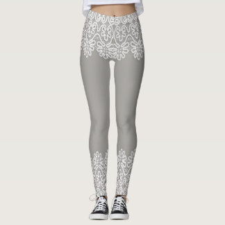 Women's Soft Grey Leggings with White Lace Accents