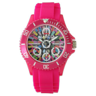 Women's Sporty 3D Pink Silicon Watch