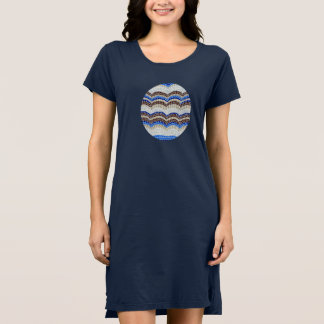 Women's T-shirt dress with blue mosaic