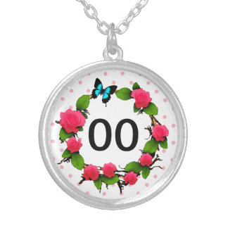 Womens Whimsical Rose 50th 60th 70th 80th Birthday Silver Plated Necklace
