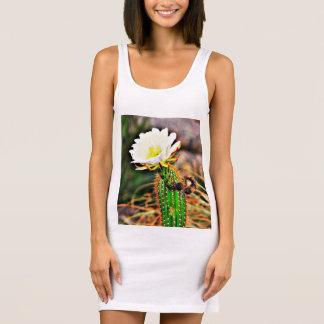 Women's White Cactus Flower Jersey Tank Dress