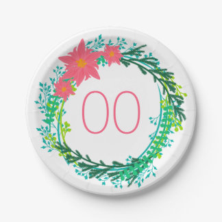 Women's Wreath 91st 92nd 95th 98th 99th Birthday 7 Inch Paper Plate