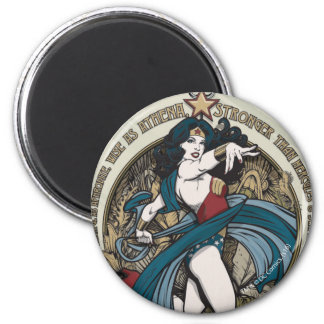 Wonder Woman Art Nouveau Panel 6 Cm Round Magnet
