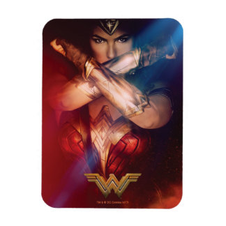 Wonder Woman Blocking With Bracelets Rectangular Photo Magnet