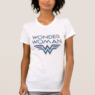 Wonder Woman Blue and Red Retro Logo T-Shirt