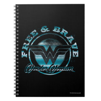 Wonder Woman Free & Brave Grunge Graphic Notebooks