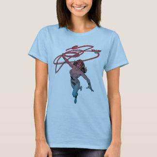 Wonder Woman With Lasso Red Blue Gradient Line Art T-Shirt