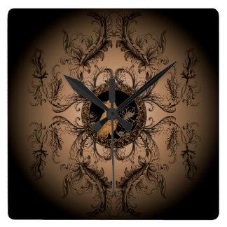 Wonderful crow made of rusty metal square wall clock