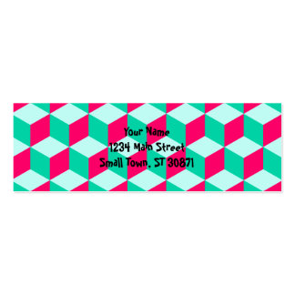 wonderful cube pattern abstract  magenta and  mint pack of skinny business cards